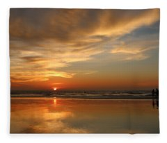 Clam Digging At Sunset - 4 Fleece Blanket