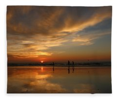 Clam Digging At Sunset -1  Fleece Blanket