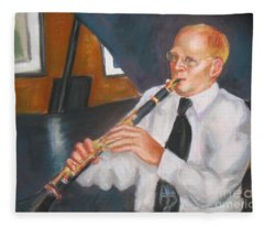 Clarinet At Palm Court Fleece Blanket
