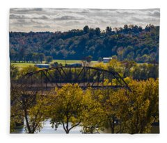 Clarksville Railroad Bridge Fleece Blanket