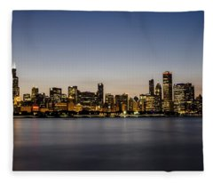 Classic Chicago Skyline At Dusk Fleece Blanket