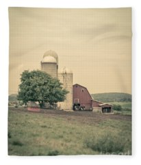 Classic Farm With Red Barn And Silos Fleece Blanket