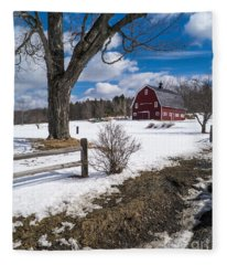 Classic New England Farm Scene Fleece Blanket