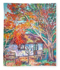 Claytor Lake Cabin In Fall Fleece Blanket