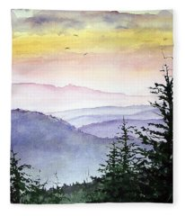 Clear Mountain Morning II Fleece Blanket