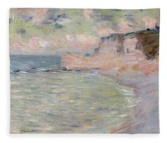 Cliffs And The Porte Damont, Morning Effect, 1885 Oil On Canvas Fleece Blanket