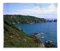 Cliffs On Isle Of Guernsey Fleece Blanket