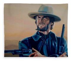 Clint Eastwood Painting Fleece Blanket