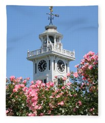 Clock Tower And Roses Fleece Blanket