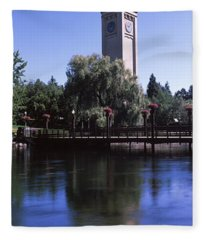 Clock Tower At Riverfront Park Fleece Blanket