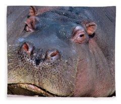 Close-up Portrait Of Hippopotamus Fleece Blanket