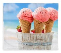 Close Up Strawberry Ice Creams Fleece Blanket