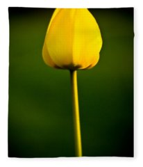 Closed Yellow Flower Fleece Blanket