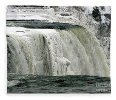 Closeup Of Icy Niagara Falls Fleece Blanket