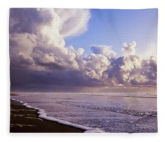 Clouds And Tide Moving Onto The Shore Fleece Blanket