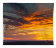 Clouds In The Sky At Dusk, Marina Del Fleece Blanket