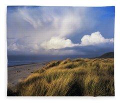 Clouds Move Inland Over Umpqua Beach Fleece Blanket