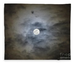 Cloudy Moon 2 Fleece Blanket