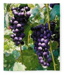 Clusters Of Red Wine Grapes Hanging On The Vine Fleece Blanket