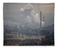 Coal Fired Power Plant In China Fleece Blanket