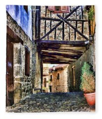 Cobble Streets Of Potes Spain By Diana Sainz Fleece Blanket
