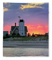Cocktail Hour At Sandy Neck Lighthouse Fleece Blanket