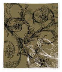 Coffee Flowers 3 Olive Fleece Blanket