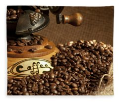 Coffee Grinder With Beans Fleece Blanket
