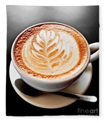 Coffee Latte With Foam Art Fleece Blanket