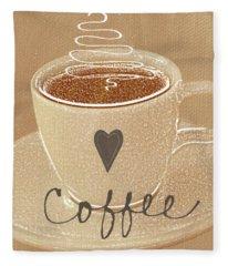 Coffee Love In Mocha Fleece Blanket