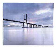 Vasco Da Gama Bridge Fleece Blankets