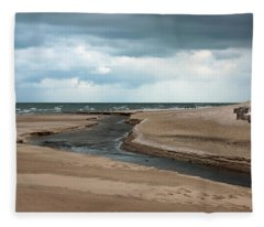 Cold Morning At The Beach Fleece Blanket