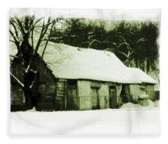 Countryside Winter Scene Fleece Blanket