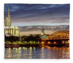 Cologne Cathedral With Rhine Riverside Fleece Blanket