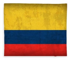 Colombia Flag Vintage Distressed Finish Fleece Blanket