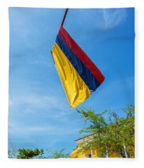 Colombian Flag And Blue Sky Fleece Blanket