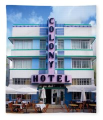 Colony Hotel Daytime Fleece Blanket