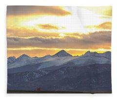 Colorado Front Range Panorama Gold Fleece Blanket