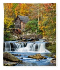 Colorful Autumn Grist Mill Fleece Blanket