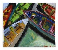 Colorful Boats Fleece Blanket