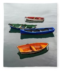colorful boats on Santurtzi Fleece Blanket
