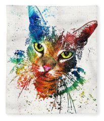 Colorful Cat Art By Sharon Cummings Fleece Blanket