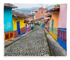 Colorful Cobblestone Street Fleece Blanket