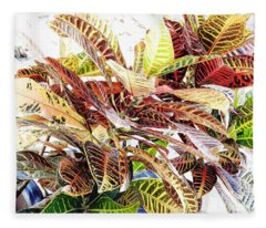 Colorful - Croton - Plant Fleece Blanket