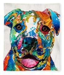 Colorful Dog Pit Bull Art - Happy - By Sharon Cummings Fleece Blanket