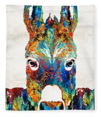 Colorful Donkey Art - Mr. Personality - By Sharon Cummings Fleece Blanket