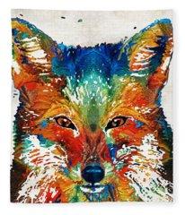 Colorful Fox Art - Foxi - By Sharon Cummings Fleece Blanket