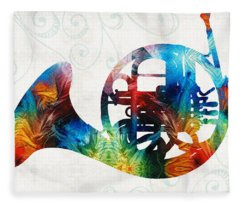 Colorful French Horn - Color Fusion By Sharon Cummings Fleece Blanket