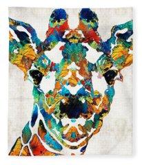 Colorful Giraffe Art - Curious - By Sharon Cummings Fleece Blanket
