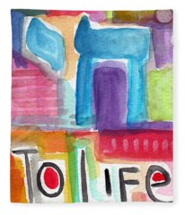 Colorful Life- Abstract Jewish Greeting Card Fleece Blanket
